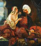 """""""Ali Pasha dhe Keyra Vasiliqia"""" pikturë e vitit 1848, kryevepra e mjeshtrit gjerman i penelit, Paul Emil Jacobs"""