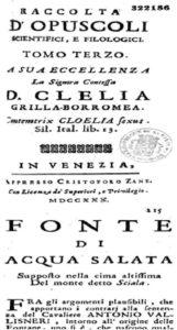 """Kopertina e revistës """"Racolta d'Opuscoli…"""" dhe pamja e dokumentit të botuar (botimi i parë, 1730)"""