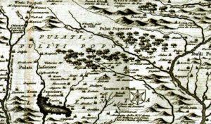 """Krahina e Pultit në """"Ristretto della Dalmazia divisa ne suoi contadi""""(P.V.M.Coronelli,1696)"""