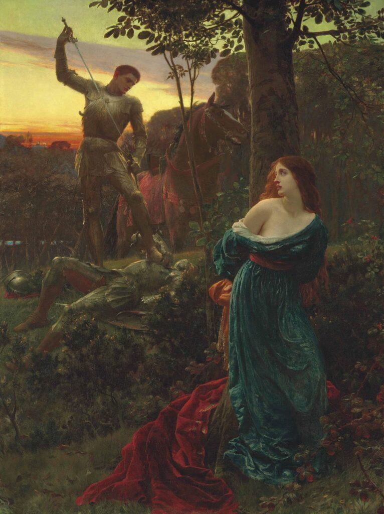 Sir Frank Bernard Dicksee fisniku viktorian i pikturës, peneli që  jetësoi në tablo histori dhe legjenda
